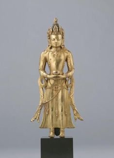 late 17th-early 18th century, Mongolia, gilt copper and pigment, published by Rossi as Amitayus