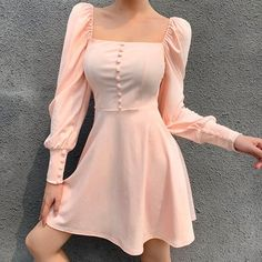 Square collar dress fashion wild button simple skirt · FE CLOTHING · Online Store Powered by Storenvy Elegant Party Dresses, Cute Dresses, Beautiful Dresses, Short Dresses, Dresses For Work, Summer Dresses, Sexy Dresses, Formal Dresses, Mini Dresses