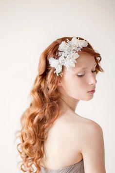 Bridal Fascinator, Head Piece, Hair Piece, Wedding Hair Accessory, ivory, gold, velvet - Leaves of Love. $150.00, via Etsy.