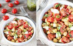 Chickpea, Pesto, Mozzarella, Tomato Salad