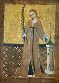 Icon with St. Barbara Inv. No. 3451, Painted wood Western style / Italy ? St. Barbara Church, 15th century