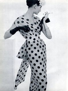 polka dots have to be done in the right way for me, this is done right! Simone in polka-dot dress by Lanvin-Castillo, 1957