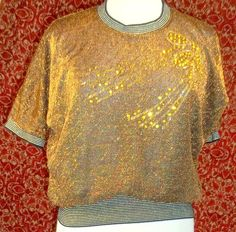 Copper Metallic batwing VINTAGE 70s/80s sweater ONE SIZE (NO TAG T27-02C7G) #Unbranded #Cocktail