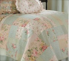 Cottage Cabin Single Bed Quilt Shabby Country Patchwork Pretty Pink Roses Chic | eBay