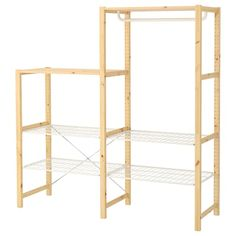 IKEA IVAR Shelving unit w shelves/drwrs/rail 174 x 50 x 124 cm Untreated solid wood is a durable natural material which is even more hardwearing and easy to look after if you oil or wax the surface. Metal Shelving Units, Wire Shelving, Wood Shelves, Clothes Rail Ikea, Ikea Ivar Regal, Diy Kleidung Upcycling, Ikea Bar, Simple Wardrobe, Ikea Family
