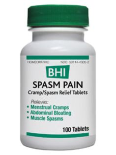 Spasm Pain 100 tabs  Homeopathic Remedy  Relieves: • Menstrual Cramps • Abdominal Bloating • Muscle Spasms  For the temporary relief of minor menstrual cramps, abdominal bloating, muscle spasms.  Active Ingredients: Each tablet contains: Atropinum sulphuricum 6X, *Aconitum napellus 4X, *Bryonia alba 4X, *Colocynthis 4X, Cuprum sulphuricum 6X 60 mg each. Inactive Ingredients: Lactose, Magnesium stearate