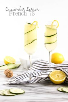 Cucumber Lemon French 75 | This is light, refreshing, and the perfect spring or summer cocktail! @pumpkinandpb