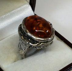 Vintage Ringe - Ring Bernstein Silber 835 Silberschmiede alt SR627 - ein Designerstück von Atelier-Regina bei DaWanda