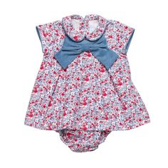 Elephantito Blue and Red Baby Dress wBloomers