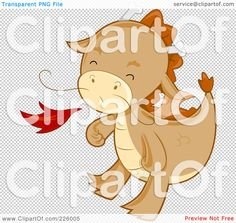 Royalty-Free (RF) Clipart Illustration of a Cute Whiskered Dragon Blowing Fire by BNP Design Studio