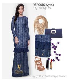 """Baju Kurung Lace Terkini 2016"" by vercato on Polyvore featuring Baju Kurung Lace - Vercato Alyssa in Blue. SHOP NOW: www.vercato.com"