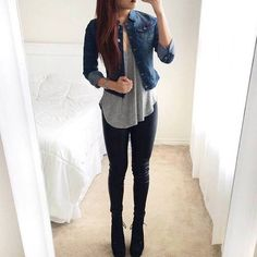Disco pants, loose gray top and jeen jacket