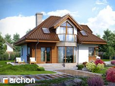 dom w jastrunach House Balcony Design, House Design, Building Design, Building A House, Attic House, House Elevation, Modern Architecture House, Dream House Plans, Cottage Homes
