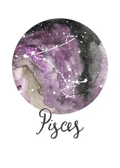 TITLE: Pisces - Zodiac Constellations SIZE: 7x5 - Unframed art print of my original painting.  All prints are signed on the back and are carefully packed in a clear sleeve and a hard backed envelope to ensure it arrives in pristine condition. Artwork © Sarah Frances.
