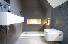 mosaic tiling for en-suite shower / wet room + wall mounted suite Garage Attic, Attic Loft, Loft Room, Loft Conversions, Attic Conversion, Loft Bedrooms, Loft Bathroom, Loft Interior Design, Bedroom Cupboards