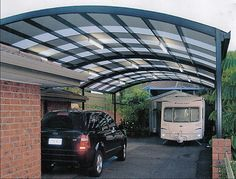 We could use a curved patio cover like this. One of my close friends got one installed not too long ago. It looks like a great way to keep the driveway clear, especially around this time of year.
