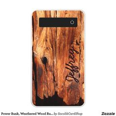 Power Bank, Weathered Wood Rustic, Personalized - This unique personalized power bank sports our original photograph of old rustic weathered wood siding, complete with knot holes. What a unique and fun design. Great Christmas stocking stuffer for your favorite guy. Original photograph by Alan Socolik. All Rights Reserved © 2015 Alan & Marcia Socolik. #PowerBank