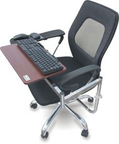 Ergonomic Chair Mount Laptop Keyboard Mouse Tray System