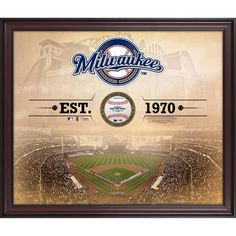 """Milwaukee Brewers Fanatics Authentic Framed 20"""" x 24"""" Stadium Gamebreaker Photograph With A Game Used Baseball - $199.99"""