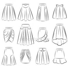 Collection of women's romantic skirts – Stock Illustration - Kleidung Ideen Dress Design Drawing, Dress Design Sketches, Fashion Design Drawings, Dress Drawing, Drawing Clothes, Fashion Illustration Sketches, Illustration Mode, Fashion Sketchbook, Fashion Sketches