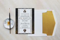 Vintage Invite Music Theme Art Deco Purple and Mint Great Gatsby Silver Envelopes Letterpress Invite Invitation Suite Custom Wedding