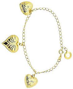 Pulseira folheada a ouro c  três corações-Clique para maiores detalhes b9c0ac3f10