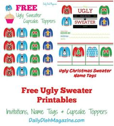 Ugly Sweater Party Free Printables Free printable party Printable
