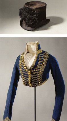 Queen Louise of Prussia riding habit. This is the riding habit that the Queen wears in the portrait done by Wilhelm Ternite, a top hat, a high neck chemissette and a blue spencer with golden hussar braiding.
