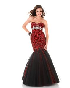 Red Black Lace Evening Dress Prom Bridesmaides Gown Size 16 Sexy ...