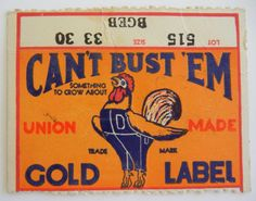 Vtg 1940s CAN'T BUST 'EM Union Made DENIM Overalls JEANS Gold / Paper SIZE LABEL | eBay