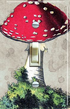 MUSHROOM Vintage Image Switch Plate (single)  - - FREE Shipping - - by VintageSwitchPlates on Etsy
