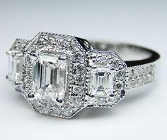 Vintage Three Stone Emerald Cut Diamond Engagement Ring