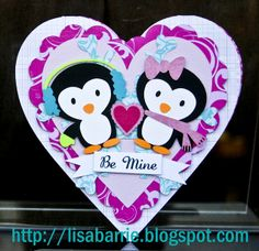 Penguin paper piecing | So here is a cute Valentine card I made for my daughter because she ...