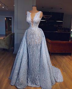 Elegant Blue Lace Sleeveless Deep V Neck Prom Dress Party Dress - Dresses party - V Neck Prom Dresses, Prom Party Dresses, Sexy Dresses, Fashion Dresses, Wedding Dresses, Dress Party, Prom Gowns, African Wedding Dress, Tulle Wedding