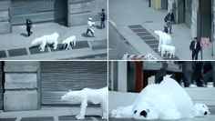 new york artist joshua allen harris has cleverly attached windsock animals made from plastic bags to subway grates in new york. when a subway passed by below, the gust of wind would inflate the animal, bringing it to life.