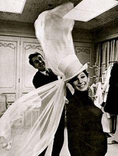 Streisand in Halston hat (with Halston) 1965
