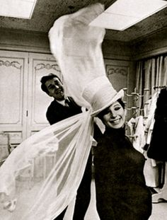 Streisand in Halston hat (with Halston) 1965