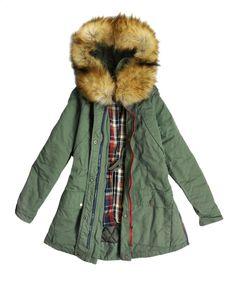 Forktail Big Fur Collar Cotton Coat