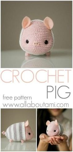 Crochet your own sweet little amigurumi pig wearing cozy striped pajamas to celebrate Chinese New Year! Free pattern & step-by-step tutorial available! crochet ideas Pattern: Chinese New Year Pig - All About Ami Crochet Mignon, Crochet Pig, Crochet Gratis, Crochet Patterns Amigurumi, Cute Crochet, Crochet Dolls, Learn Crochet, Chrochet, Yarn Projects