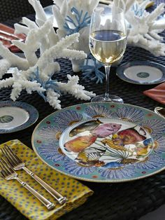 Eclectic Nautical Table Setting by JM Interiors !