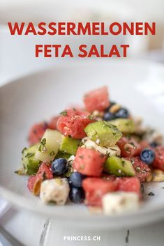 Veggie Recipes, Fruit Salad, Feta, Salads, Veggies, Healthy Eating, Cupcakes, Breakfast, Watermelon