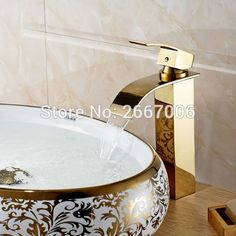 (49.58$)  Watch here  - Free shipping Luxury Style Promotion Chrome Gold Finish Waterfall Bathroom Basin Mixer Tap One Handle Sink Faucet Hotel ZR626