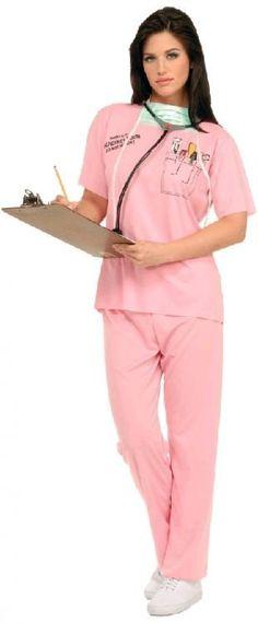 Nurse Medical Scrubs Costume Fancy Dress Party