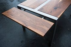 Expandable Walnut 'Zeeva' Dining Table & (optional) Bench Set, Steel Frame, Custom (shipping/delivery not included in pricing) Walnut Dining Table, Wood Table, Dining Room Table, Steel Table, Metal Furniture, Industrial Furniture, Furniture Design, Custom Crates, Expandable Dining Table