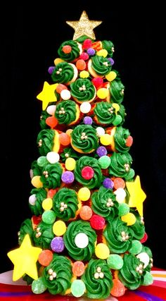 Holiday Cupcake Tree.   Yes this is pretty But I see messy all over the place when people try to get the cupcakes off this tree.  And if kids are involved, whoa nelly, BIG mess.