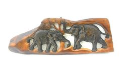 "Hand Carved Elephant Wood Carving Elephant Natural Teak Wood Two Elephants Handmade Wooden Elephant Art Home Decor / Gift 21.5""x8""x0.75"" by WoodCarvingArt on Etsy"
