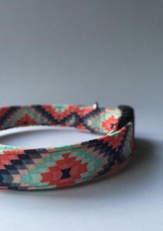 Aztec Multi-Color Coral & Blue Dog Collar @pawtreasures www.pawtreasures.com