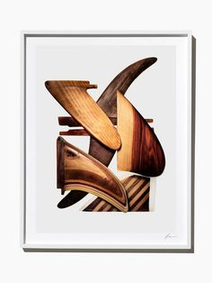 Wooden Surfboard Fins, Composition #1