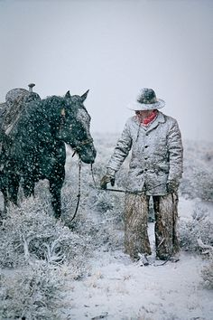 """""""Winter's Chill"""" Brett Reeder Lost River Range, Mackay, Idaho, 1987 Cowboy Gear, book 30 x 40 Cowboys And Angels, Real Cowboys, Cowboys And Indians, Cowboy Horse, Cowboy Up, Cowboy And Cowgirl, Cowgirl Style, Cowboy Pictures, Cowboy Images"""