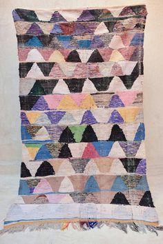 IL PLEUT De BONHEUR 8'11 x 4'11 Boucherouite Kilim von pinkrugco